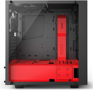 NZXT S340 Elite ATX Mid Tower Computer Case, Matte Black/Red (CA-S340W-B4)