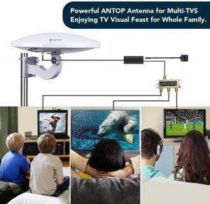 ANTOP PL-414BG HDTV Antenna UFO 360° Omni-Directional Reception with Smartpass Amplifier & Built-in 4G LTE Filter, Enhanced VHF &UHF Signal, Fit...