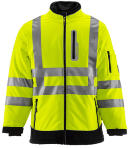 RefrigiWear Men's Hivis Extreme Softshell Jacket - ANSI Class 3 High Visibility Lime with Reflective Tape